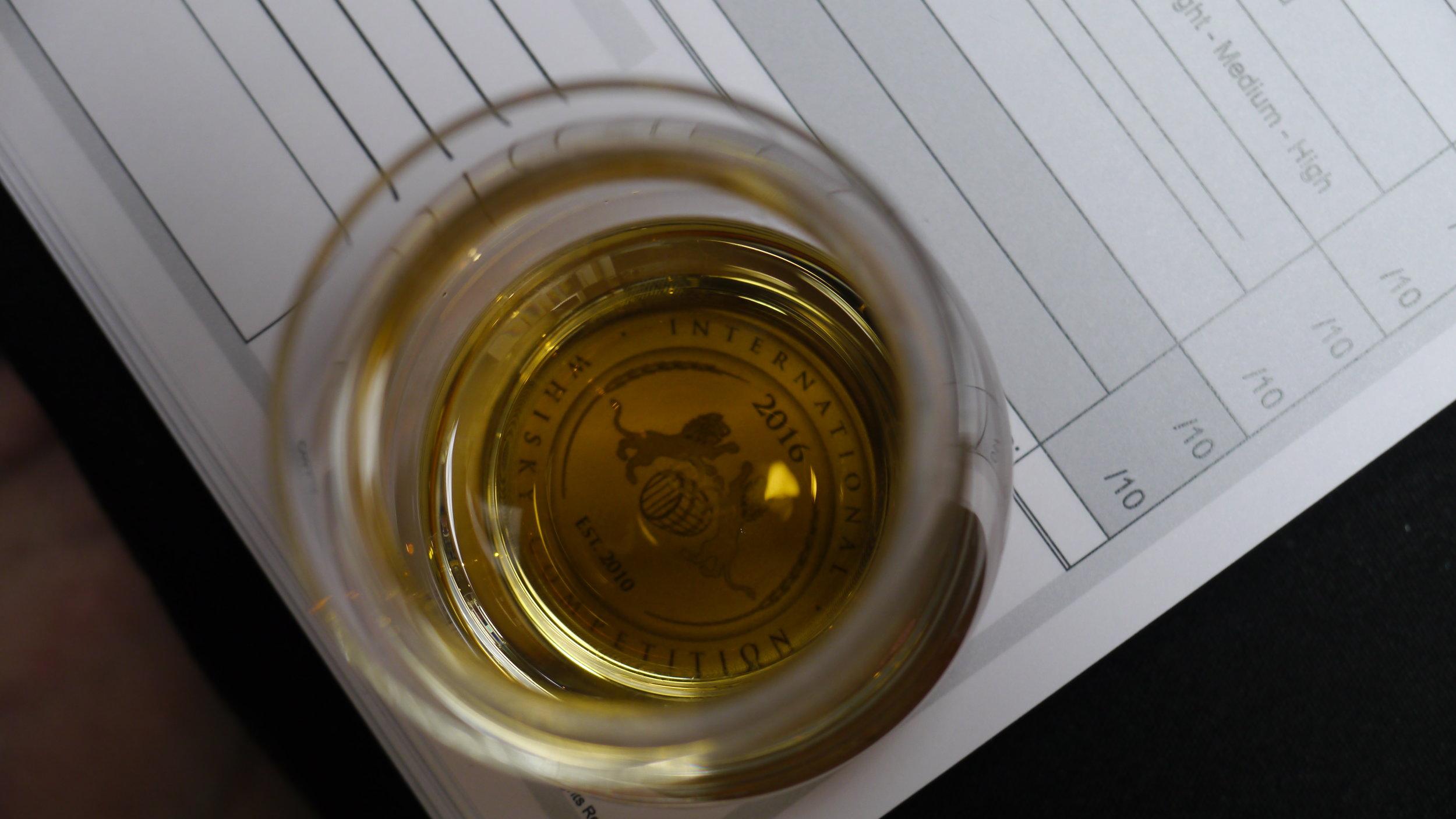 Sample overlooking the judging tasting sheet