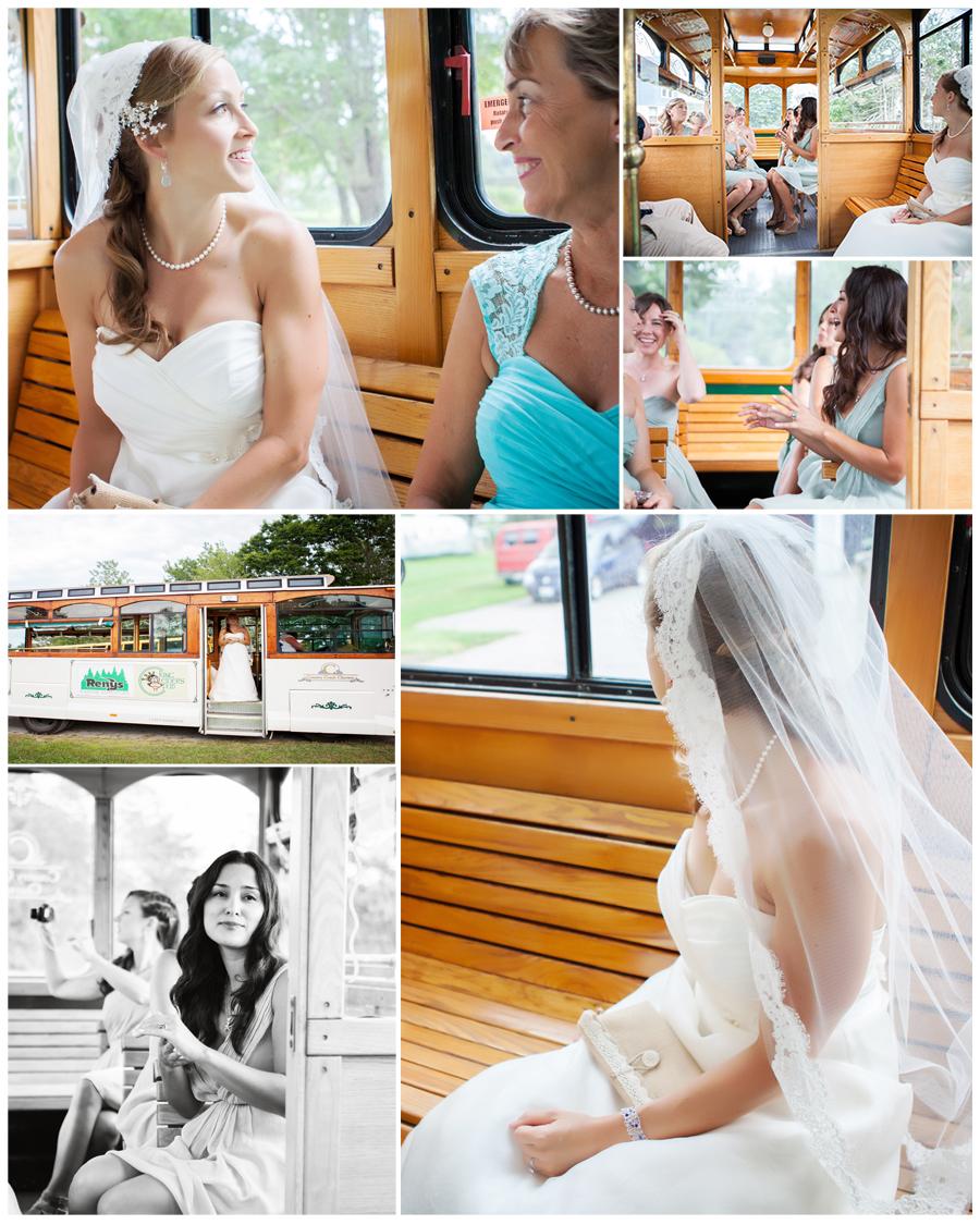 Maine Wedding Photographer bride and bridesmaids on trolley.jpg