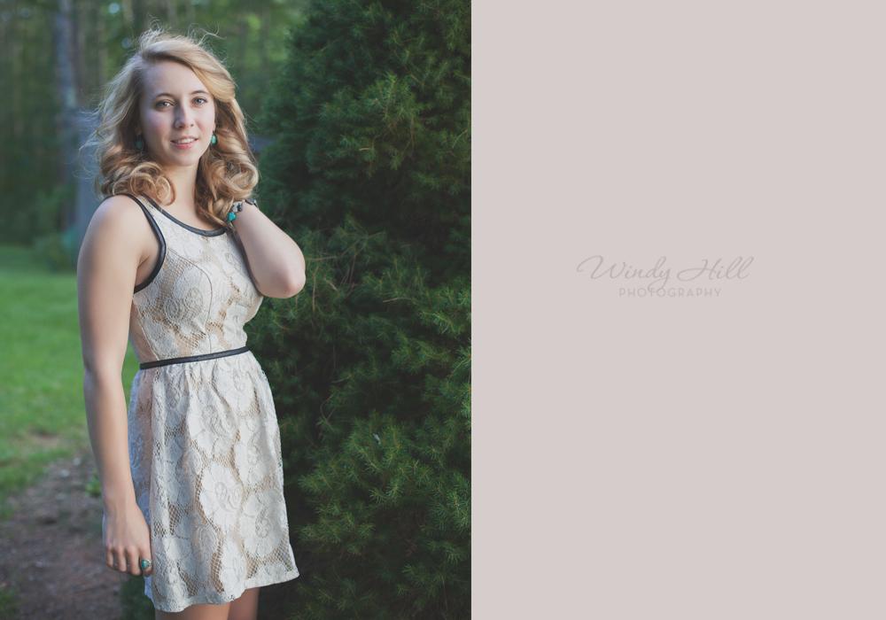 Midcoast maine Senior Photography lace dress standing pose woods.jpg