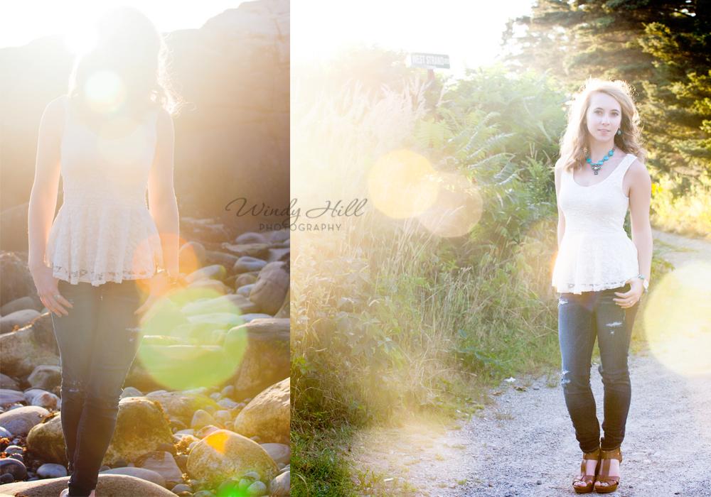 Midcoast Maine Senior Photography hazy sun beach flare romantic.jpg