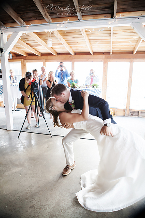 Maine Wedding Photographer First Dance Dip and Kiss.jpg