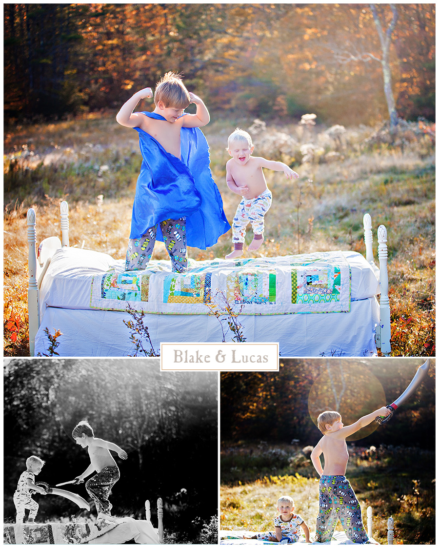 Maine Family Photographer jumping on the bed little boys field sunset.jpg