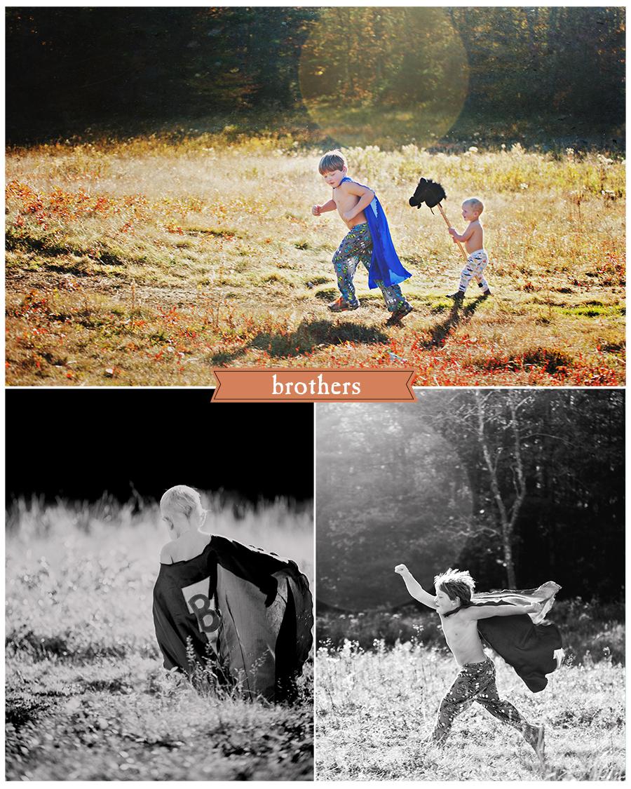 Maine Family Photographer superhero brothers field sunset.jpg