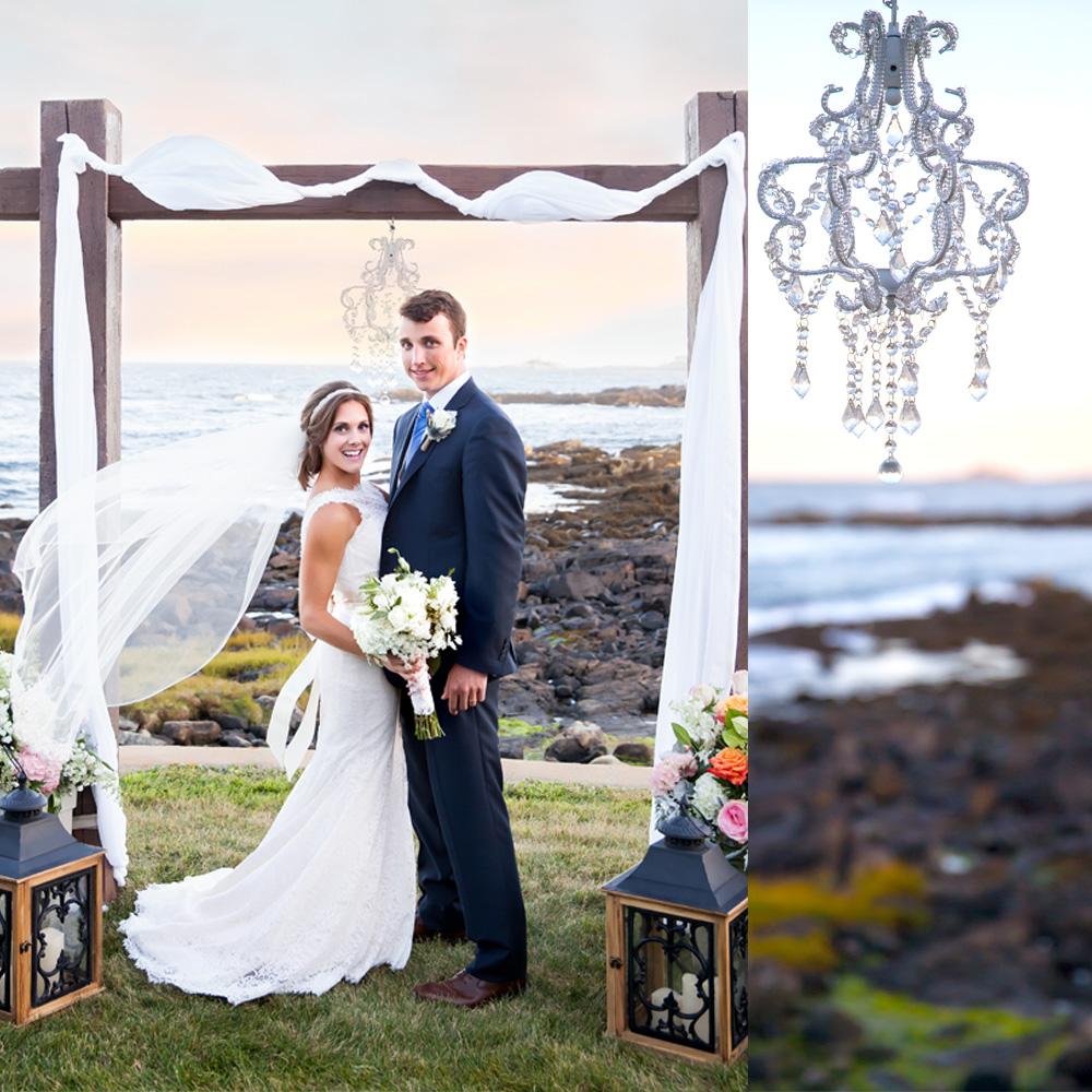 bride and groom at alter cape Neddick Maine