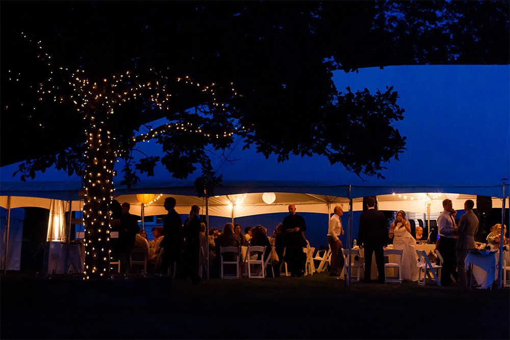 twinkle lights and tent at twilight