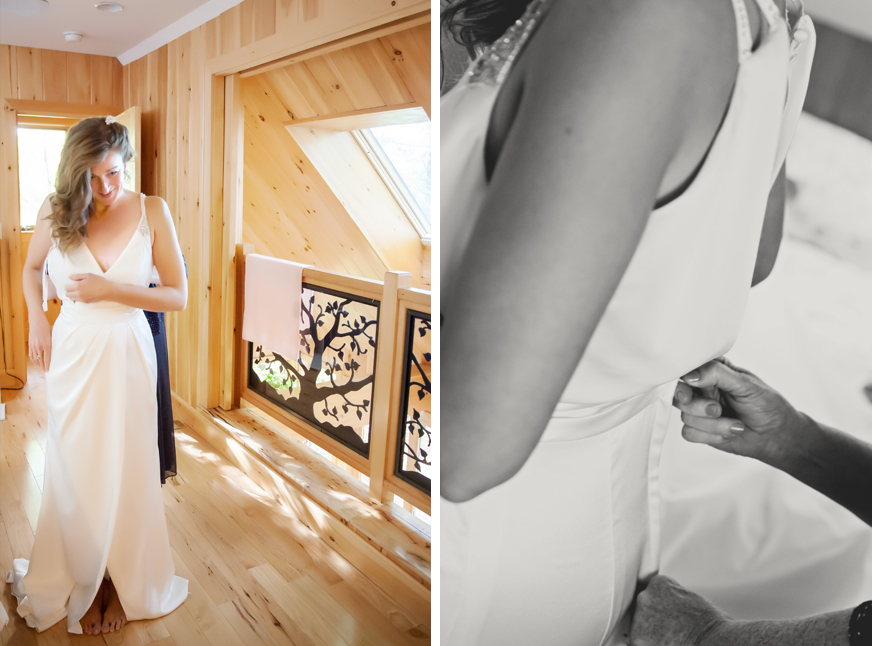 putting on the dress maine wedding Photographer