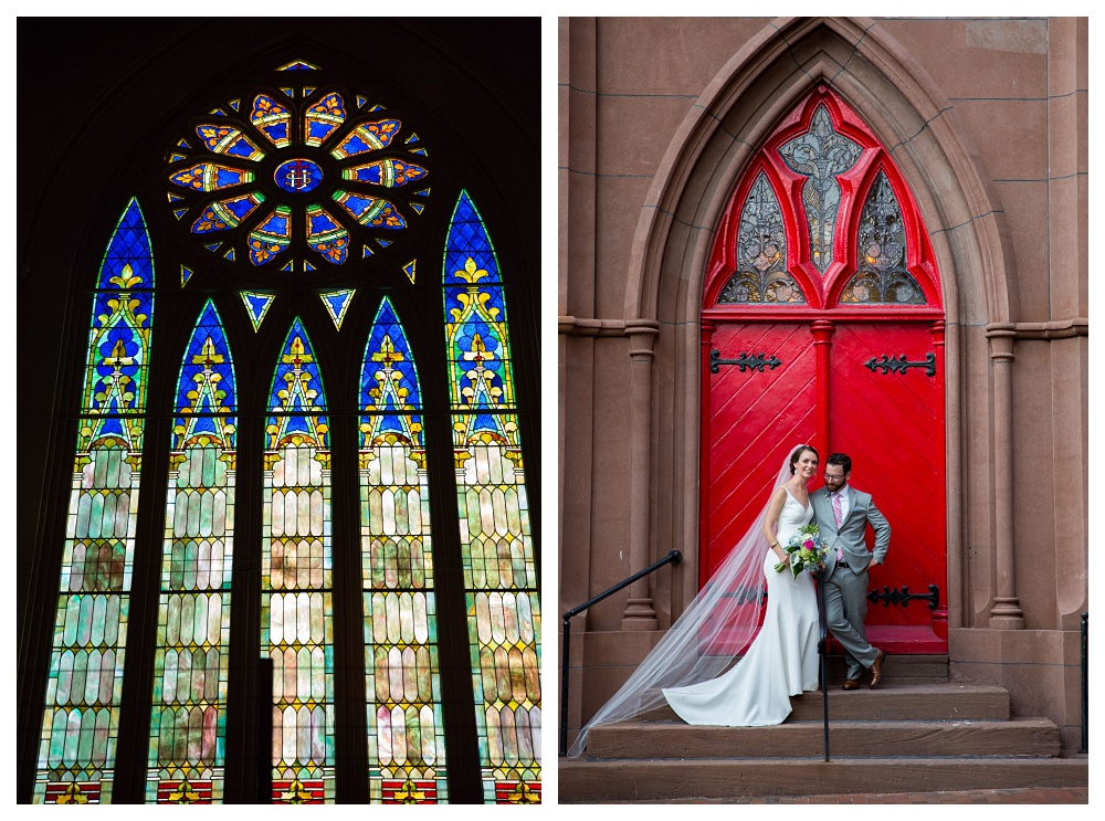 Maine Wedding Photographer Grace restaurant stained glass