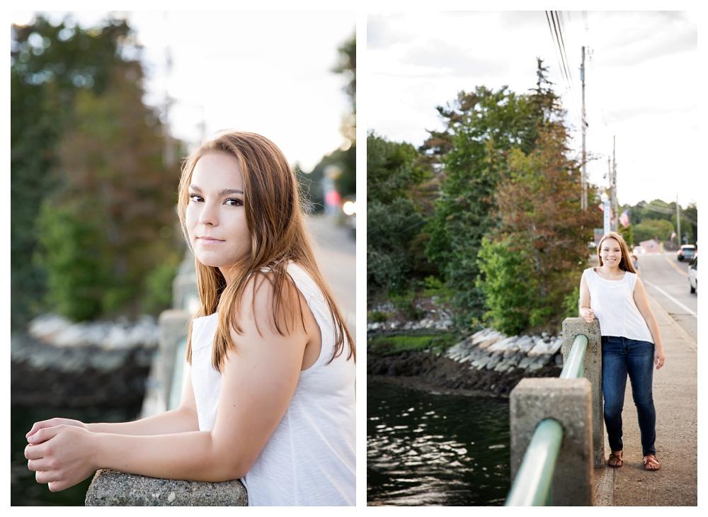 Maine Senior Photographer damariscotta river bridge girl main street