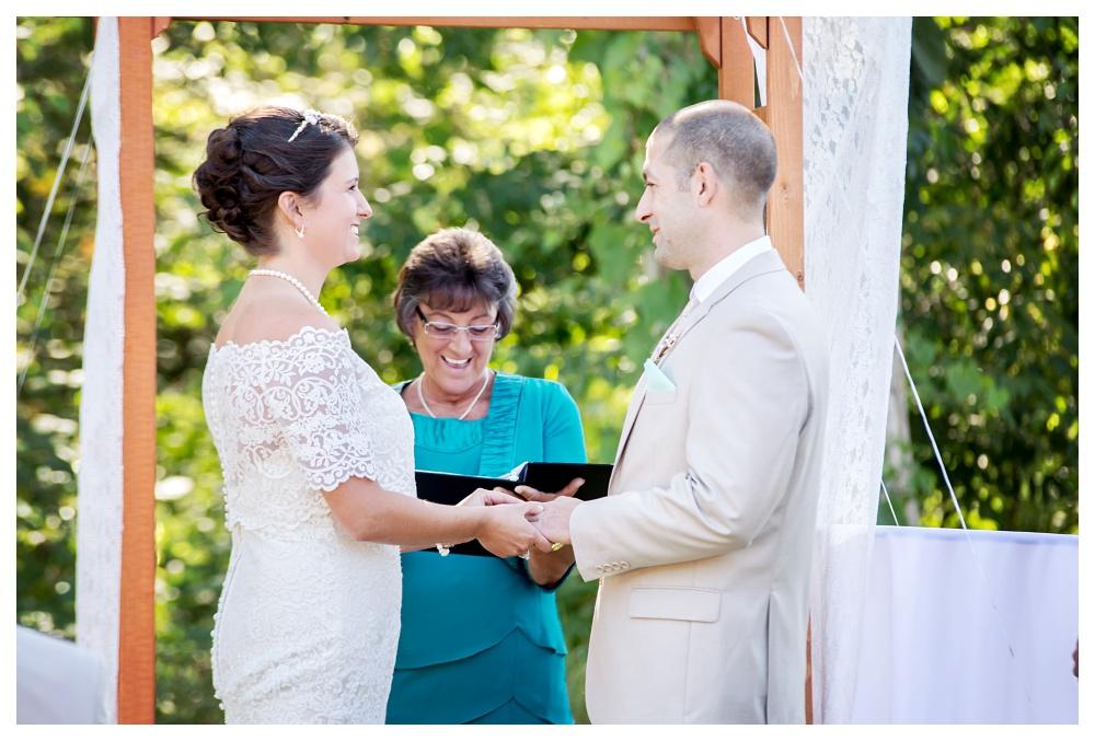Maine Wedding Photographer Bethel outside ceremony lace