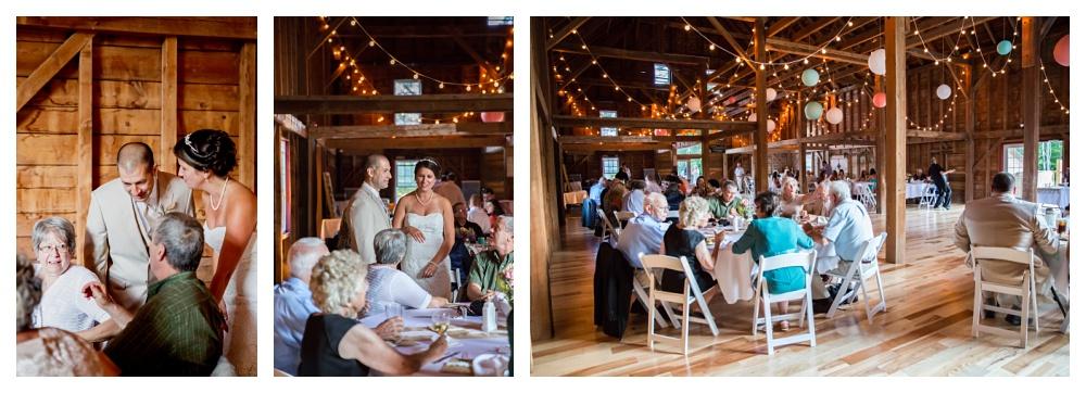 Maine Wedding Photographer the 1888 barn Bethel couple at tables
