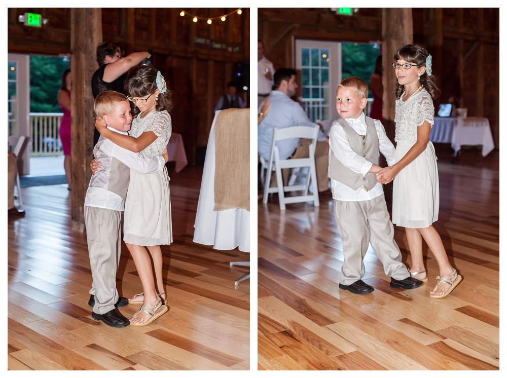 While Keith and Charity were having their first dance these two cuties decided they needed to join in.