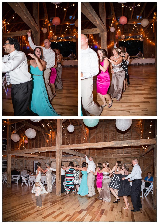 Maine Wedding Photographer Bethel dancing conga