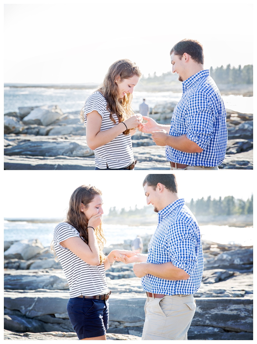 Pemaquid Point Lighthouse Proposal putting on the ring photo