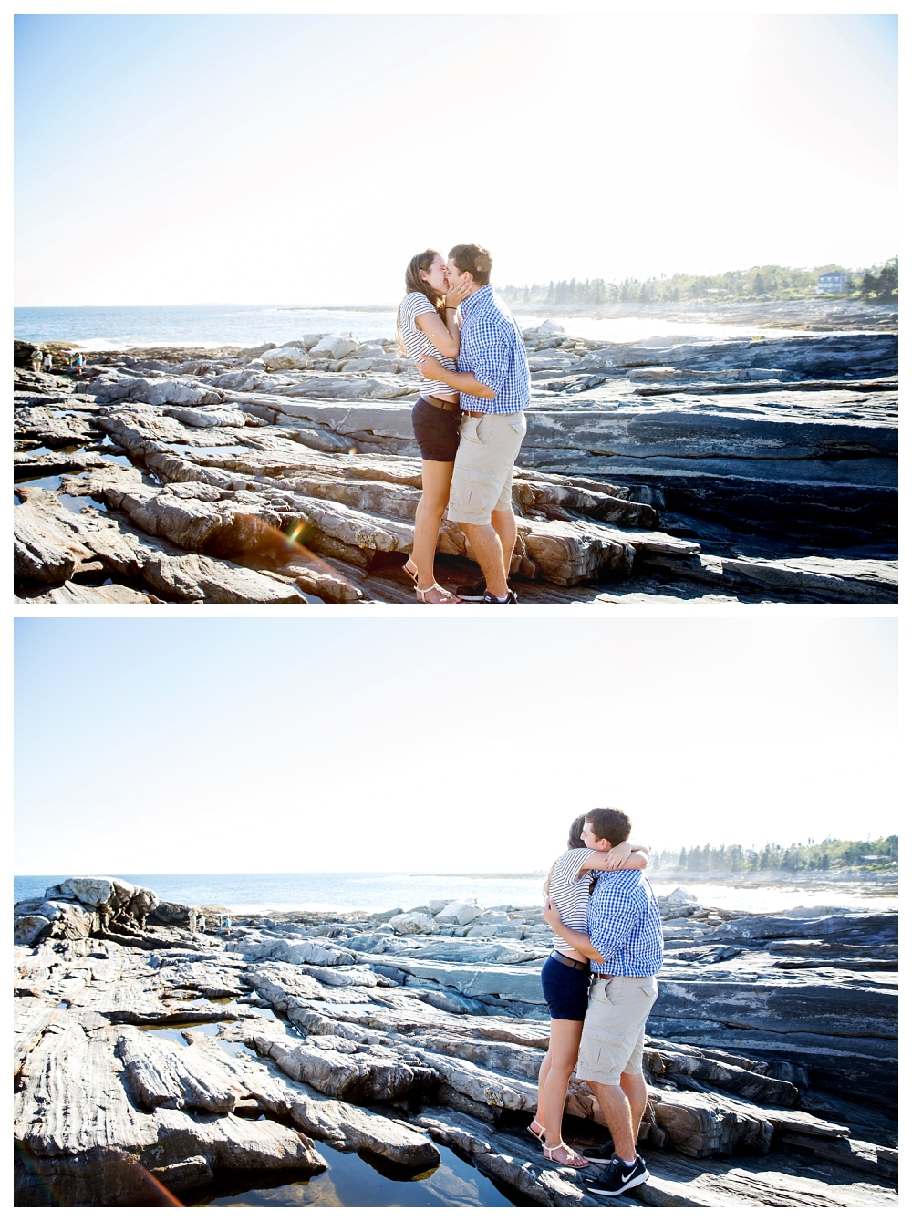 Pemaquid Point Lighthouse Proposal kissing photo