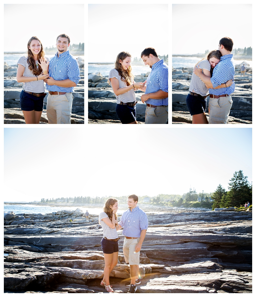 Pemaquid Point Lighthouse Proposal showing off the ring photo