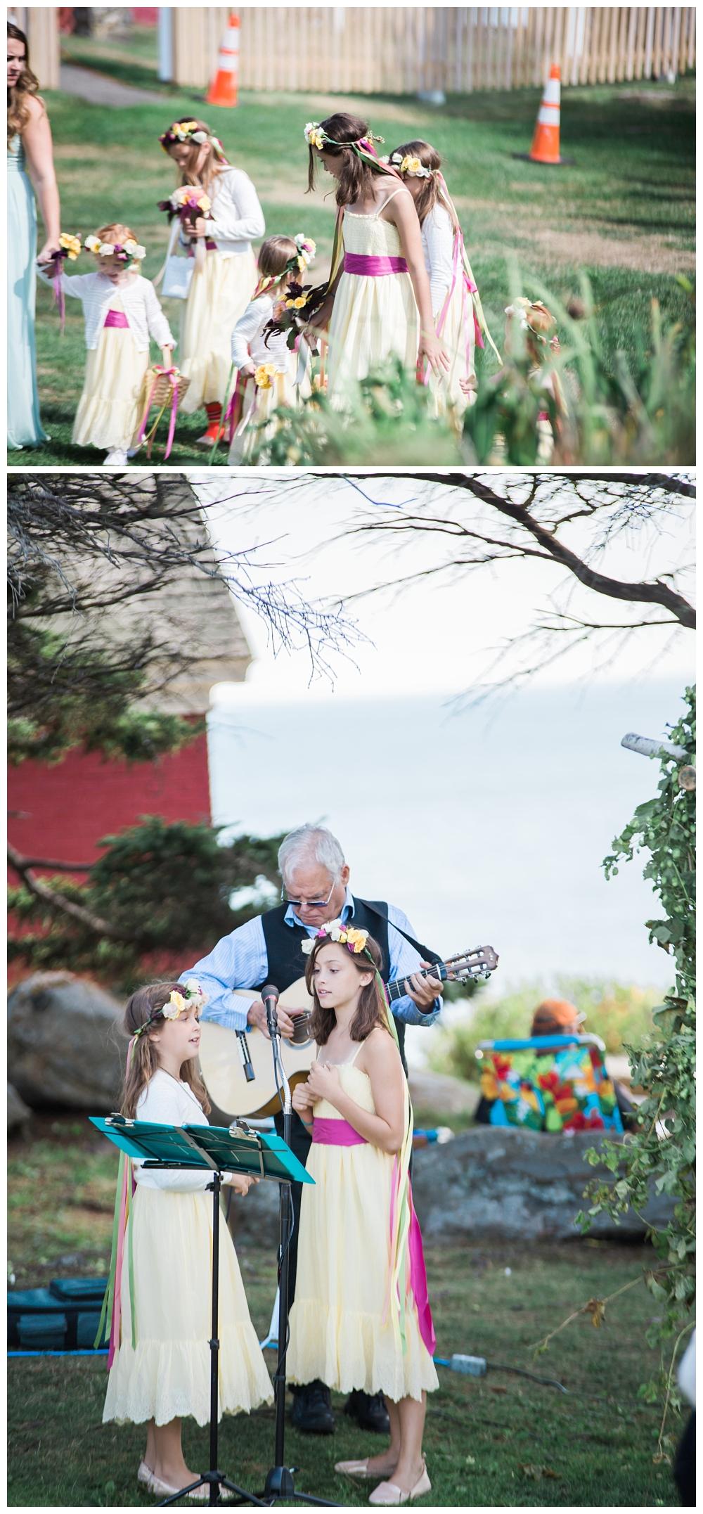 Maine Wedding Photographer Pemaquid Point Lighthouse Ceremony flower girls