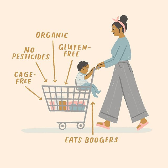 I dk this life but I wish my mom could still wheel me around in a cart cause these feet tired. Illustration for @hallmarkbaby 🥦🍅🍑🍌🥬🥕