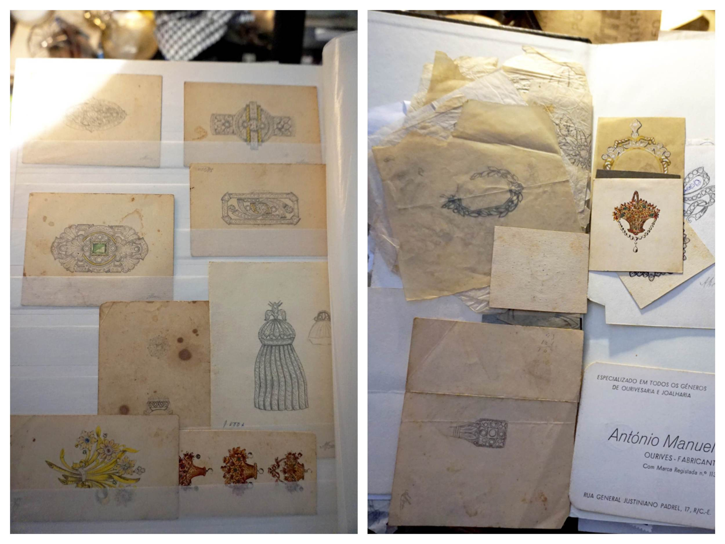 (Some of the sketchbooks left at the Sebastião's studio that belonged to the previous tenant, the retired jeweler)