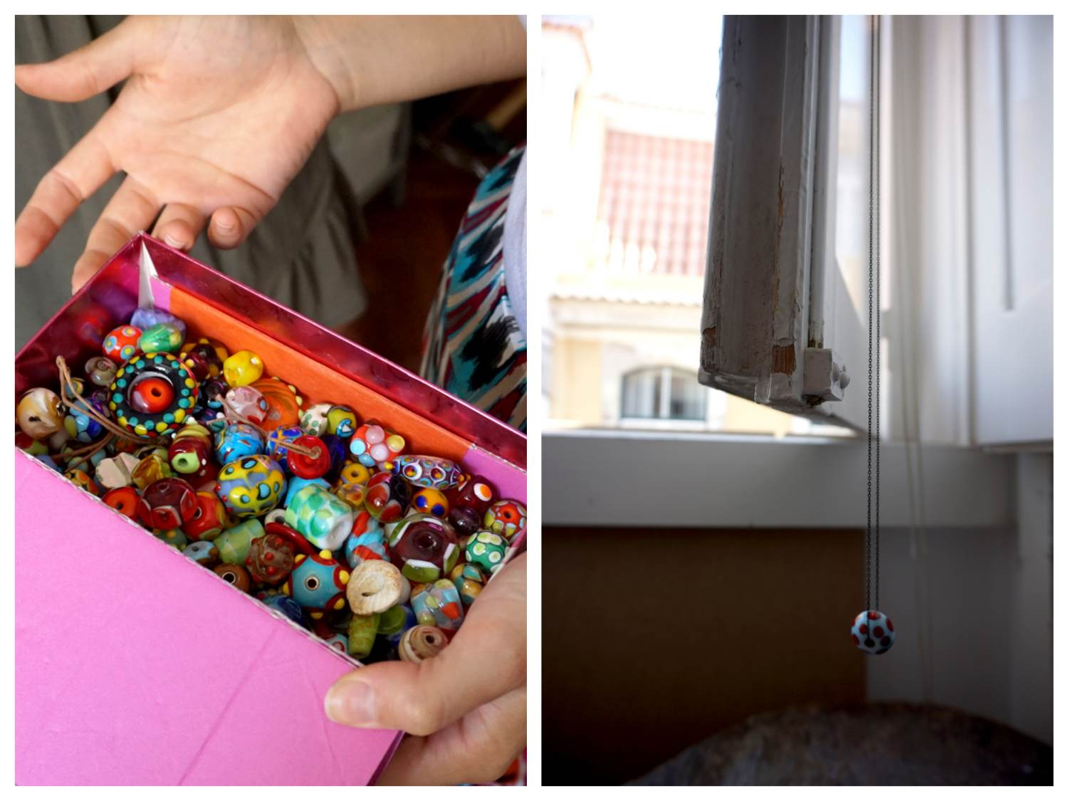(This is the box where Mafalda keeps the glass beads that she creates. Some go back to her days when she was living NYC)