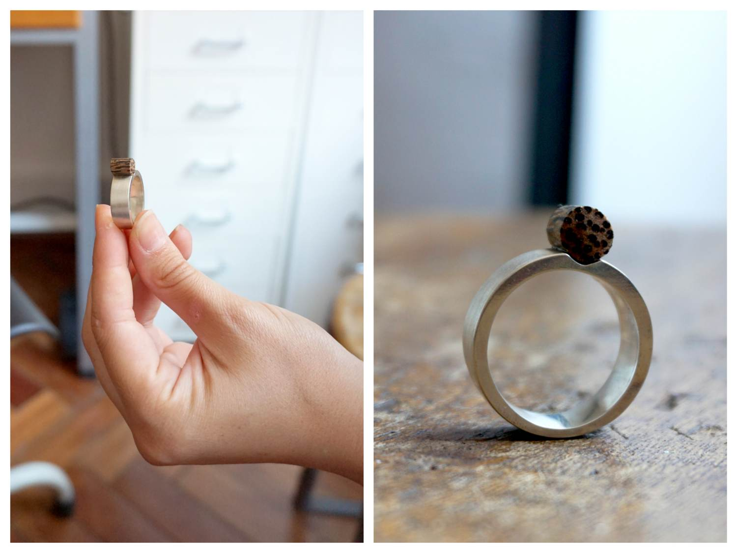 (Ring with Zebra wood)