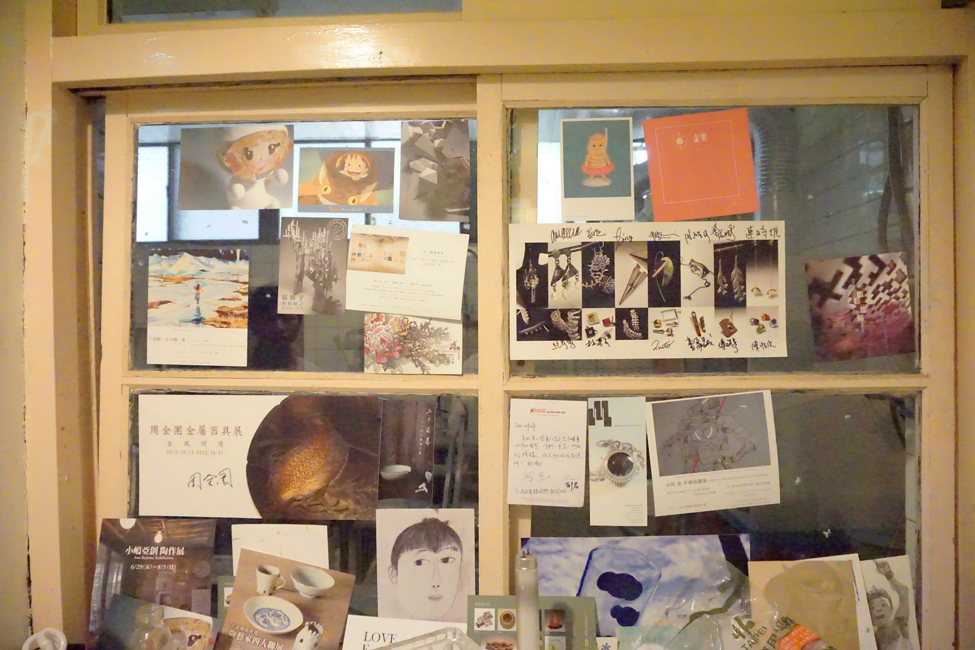 The thank you notes and mood board is a window of the studio