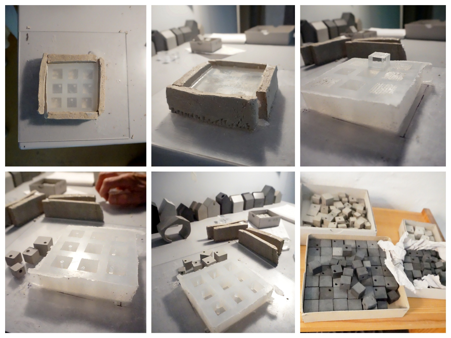 The process of creating a piece in concrete is a laborious one. Seen here is an example of how the concrete cubes for some of bergnerschmidt necklaces are created.