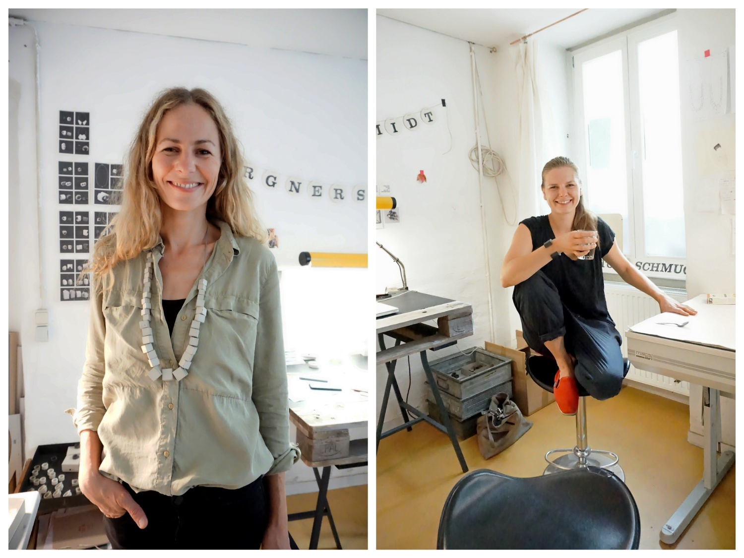 Meet the design duo behind bergnerschmidt Concrete jewellery: Lily Bergner on the left and Elisabeth Schmidt on the right