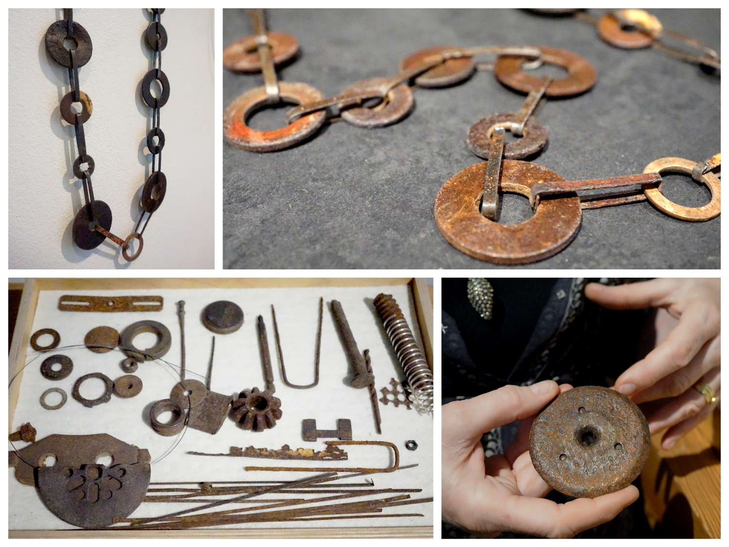 The discarded metal objects and a necklace made out of these materials.