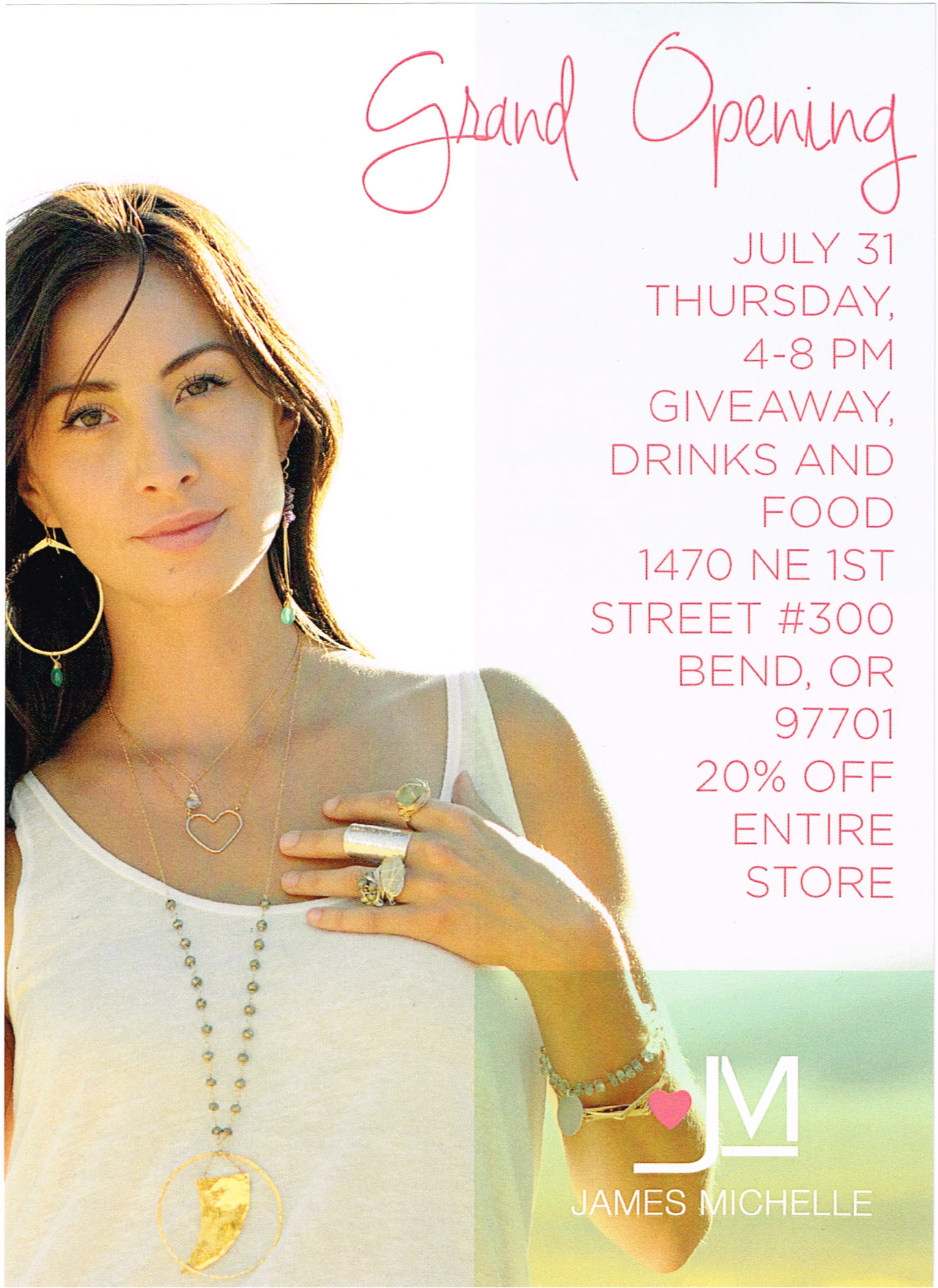 Don't miss the Grand Opening for James Michelle Jewelry.  Mike and I have personally had JM make us Jewelry for our Wives with custom personal touch's. Our wives love the Jewelry and the Ladies at JM were fabulous to work with.  Brian Nordlund