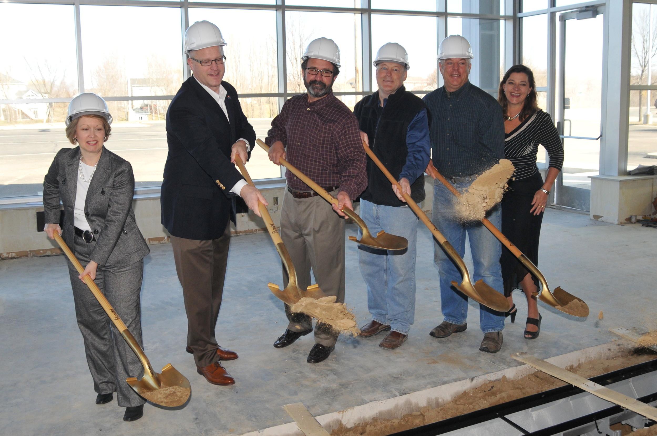 from left: Minnesota Representative Jenifer Loon, Waconia Mayor Jim Nash, Founder and Partner Bill Miller, Tim Forcier of Sondergaard Forcier Builders, Founder and Partner Tom Kullman, and Gina Holman, Founder and Manager.