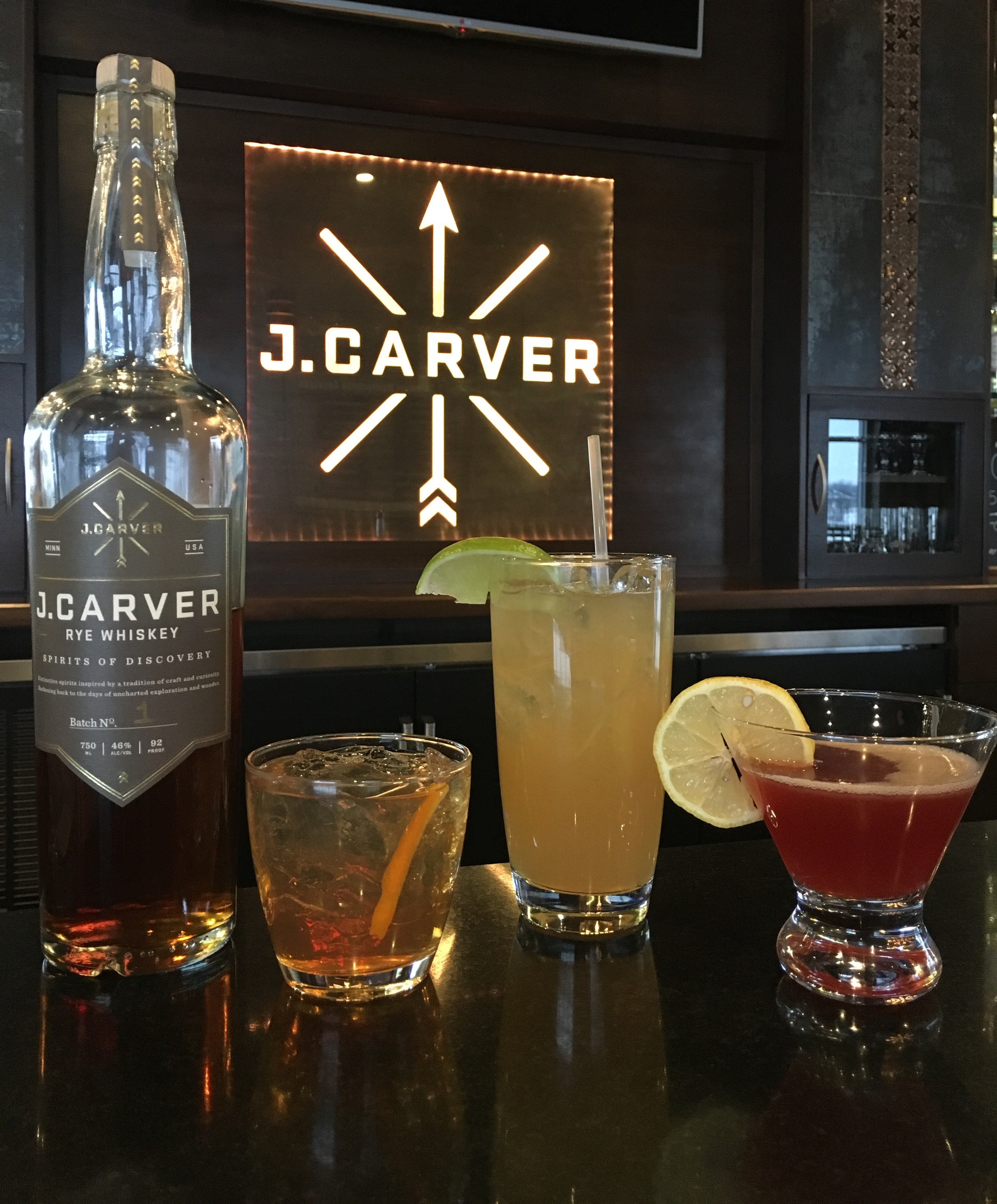 J. Carver Rye Whiskey Specialty Cocktails available in our Cocktail Room