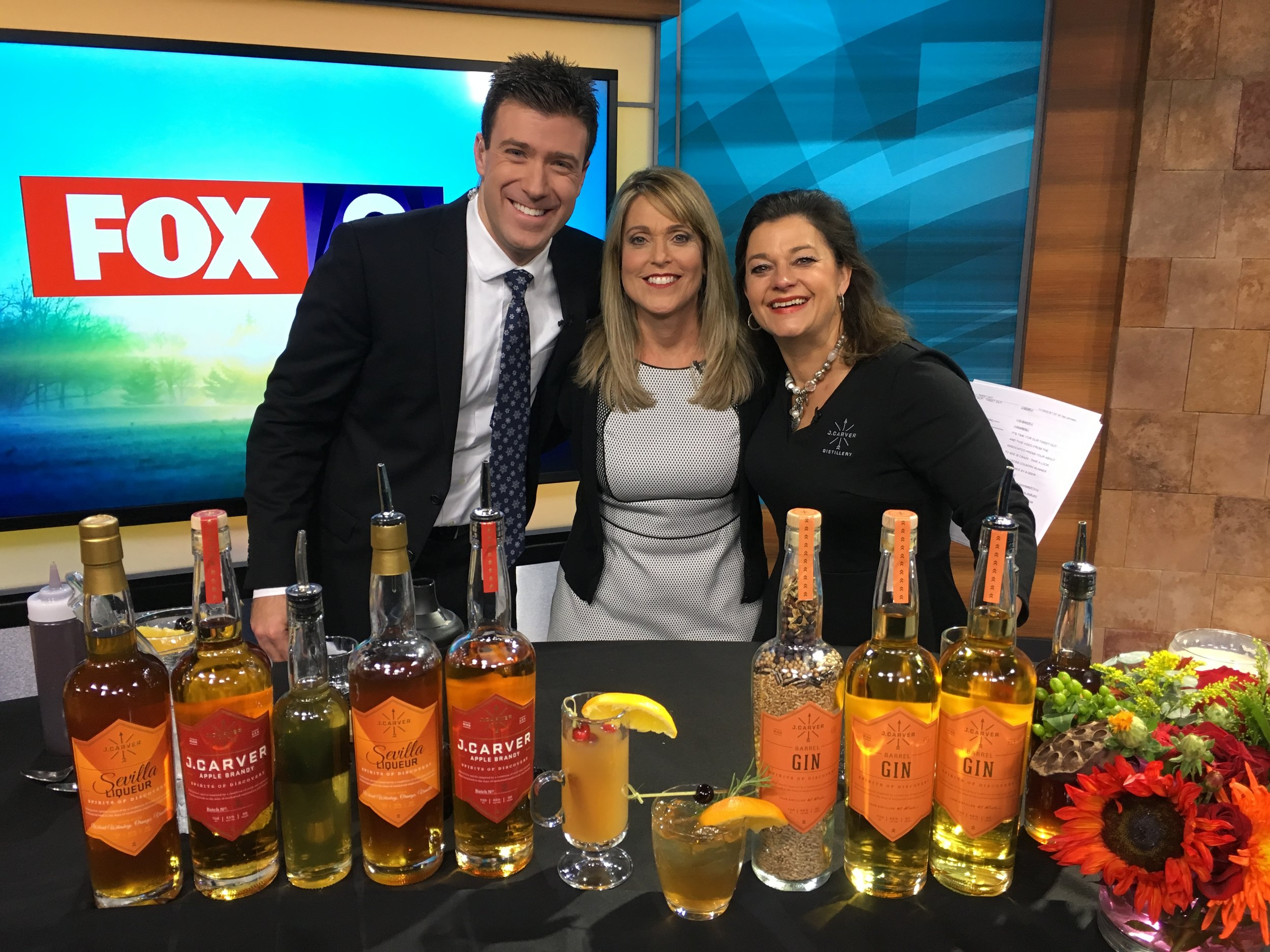Fox 9 Saturday Morning Show featuring J. Carver Barrel Gin, Apple Brandy and Sevilla Liqueur
