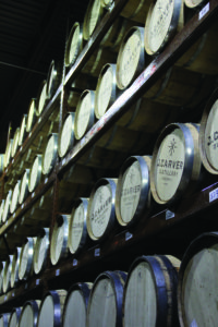 The barrel room at J. Carver Distillery in Waconia. (Adam Quandt/The Patriot)