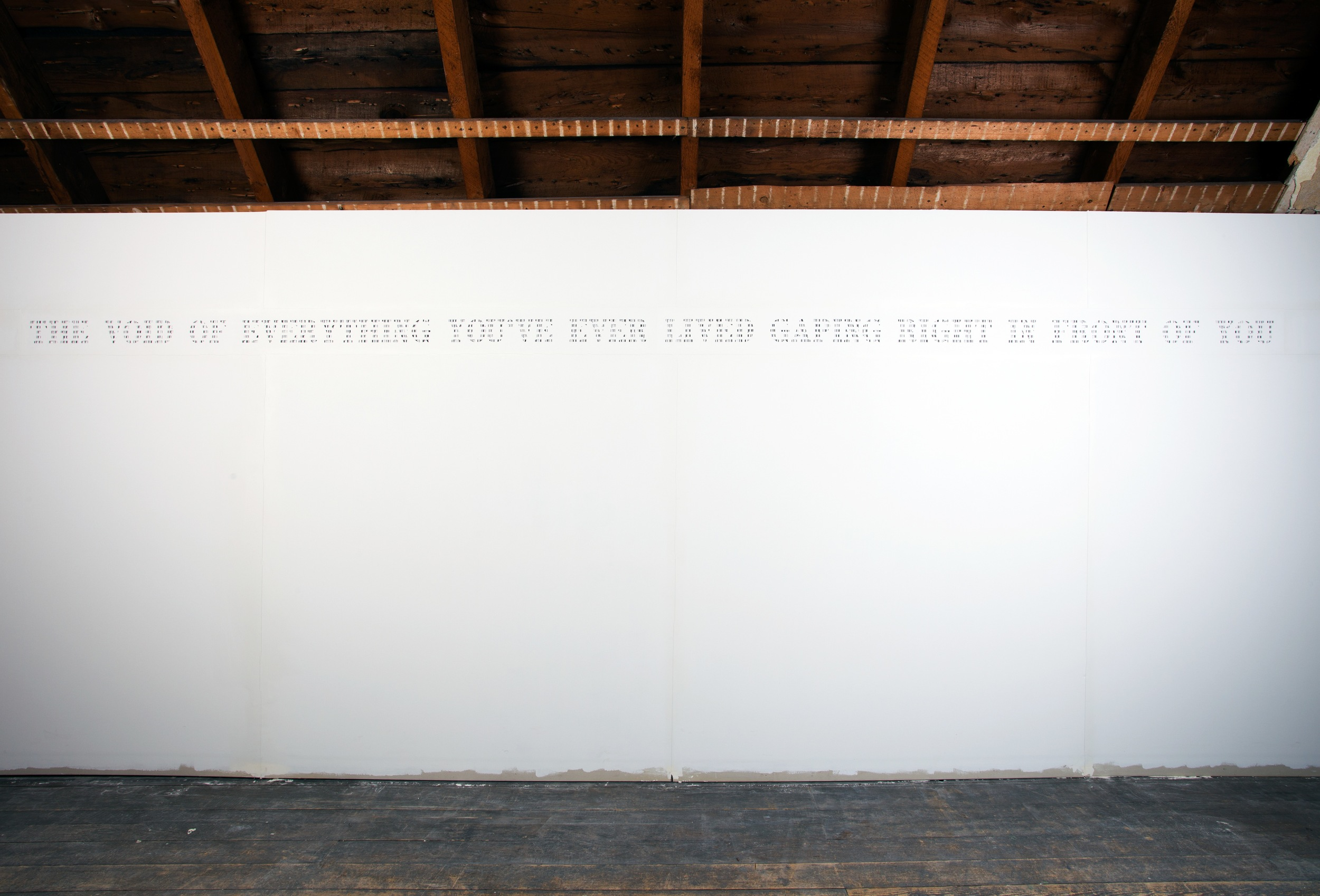 "The Void of Everything You've Ever Lived Gaping Right in Front of You   Site Specific Installation; Cut Paper, Mat Board, Drywall, House Paint, 2"" x 4"" Studs  Approximately 12' x 5'  2013"