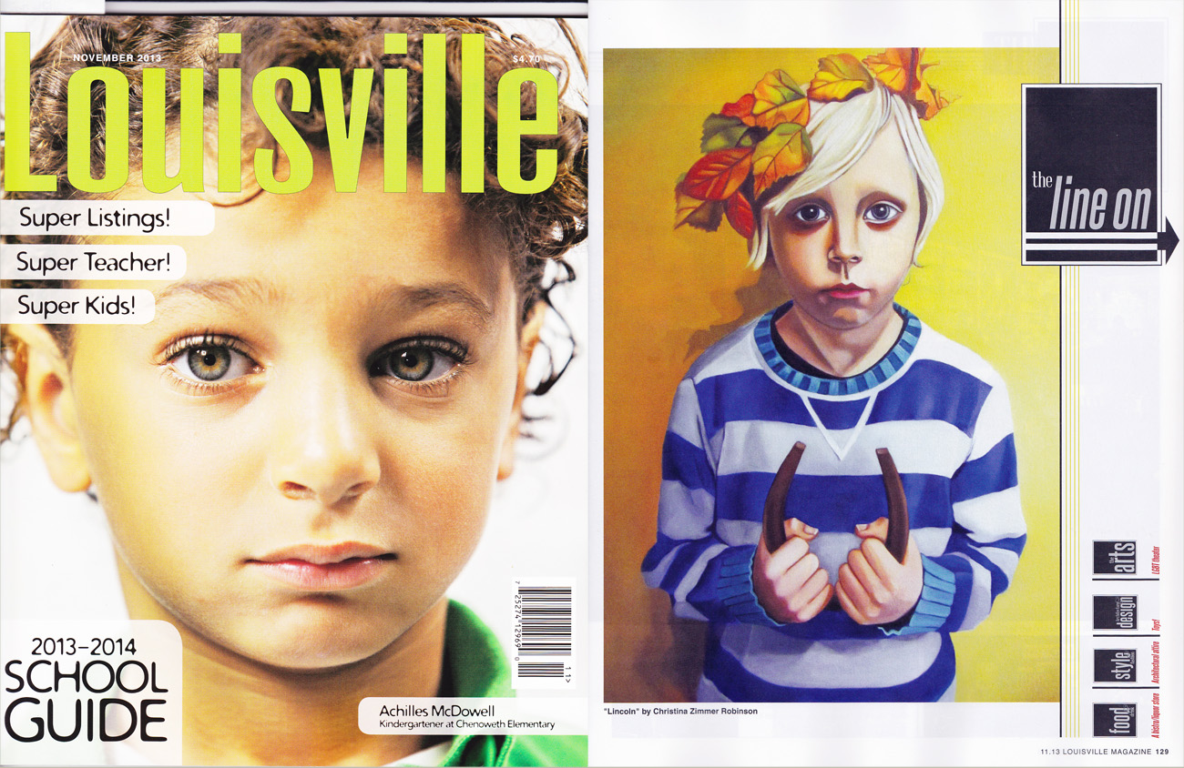 """November Issue of Louisville Magazine featuring my painting """"Lincoln""""."""
