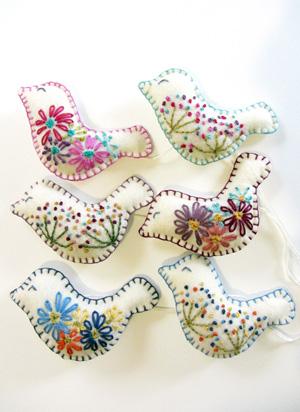 Hand embroidered birds on Eco Fi Felt
