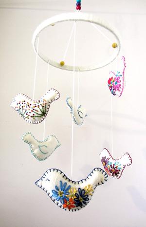 Embroidered handmade nursery mobile