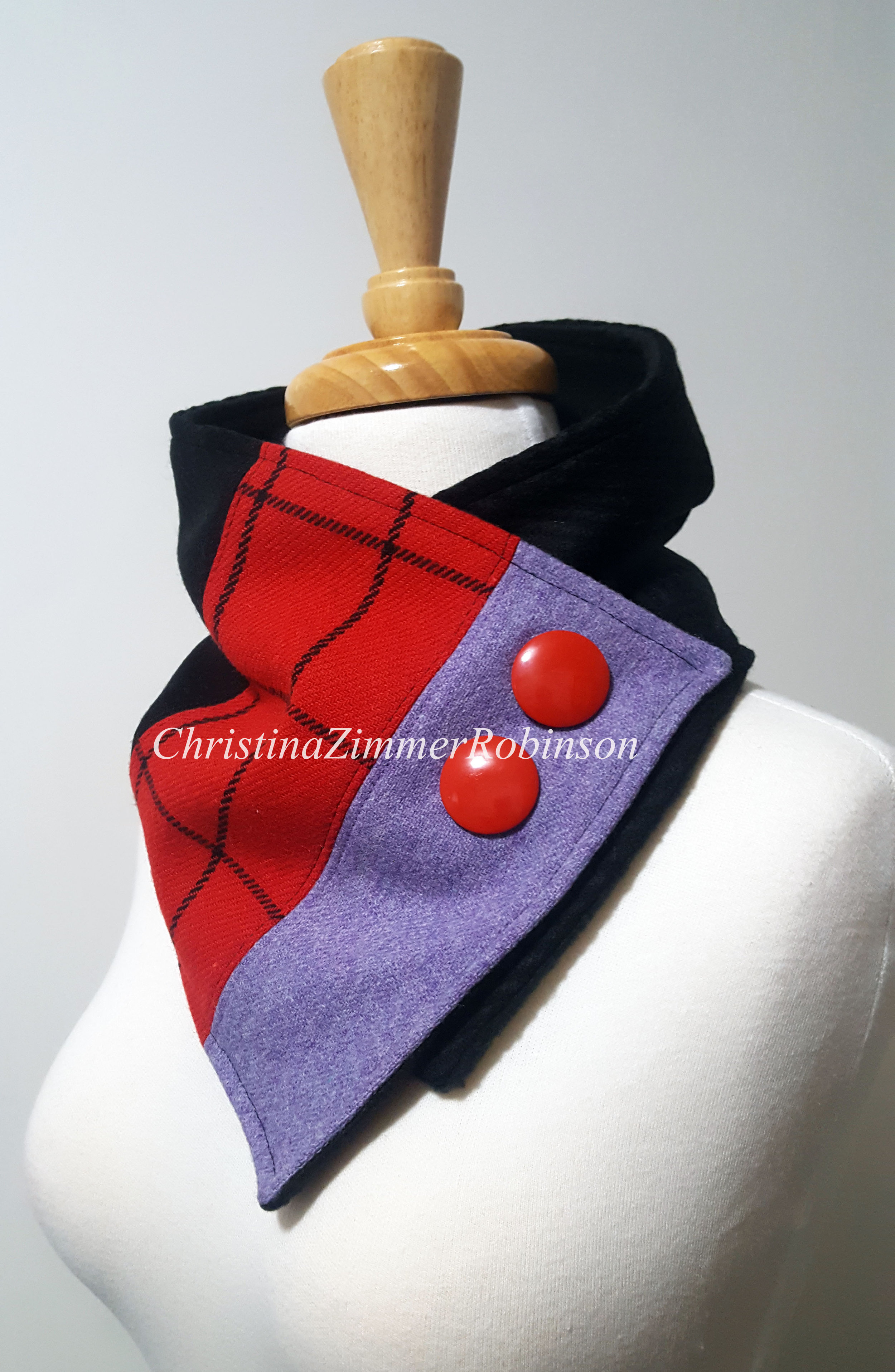 Neck Warmer, Neckwarmer, Scarf, Wrap, Cowl, Purple with Red and Black Plaid and Red buttons