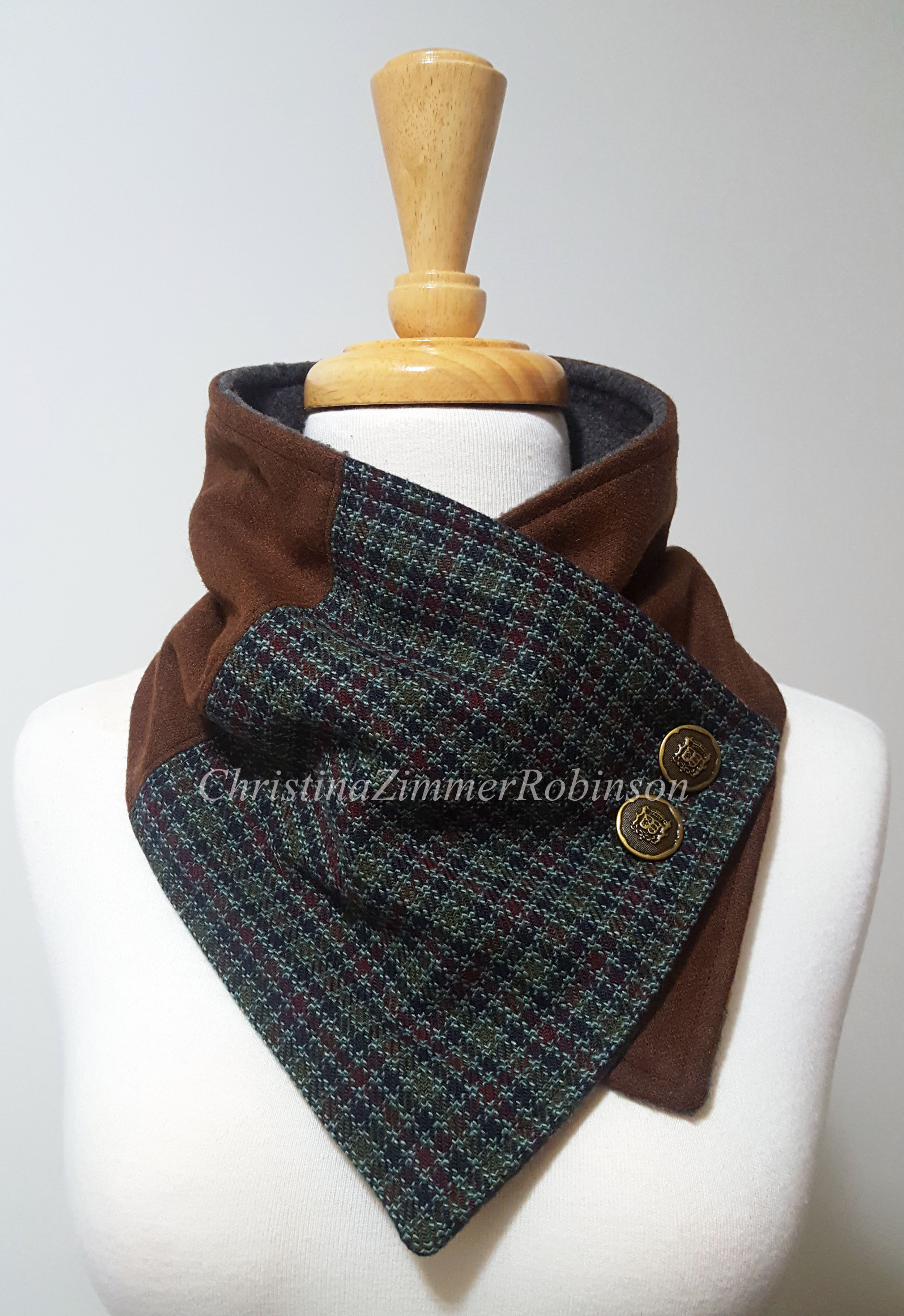 Neck Warmer, Neckwarmer, Scarf, Crest Buttons, Brown with Houndstooth, Upcycled Clothing, Reconstructed