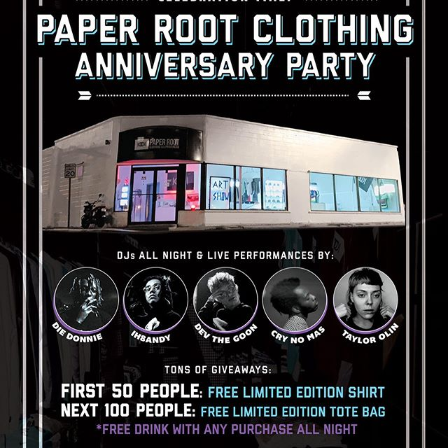 It's finally almost here!! The 1 Year Anniversary Celebration is SATURDAY NIGHT.  Lots of giveaways, musical acts, drinks, DJs, and the release of our newest Collection.  This is for all the people that have supported us this first year in our store, this is our way of saying thanks.