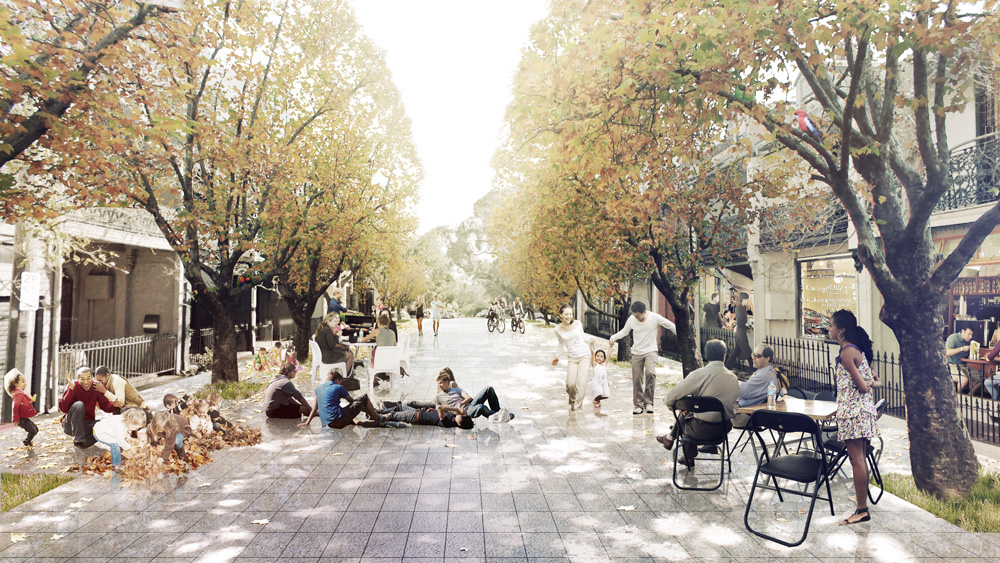 Glebe, Sydney 2040 As most private living rooms have been converted to home offices, small businesses or rentable bedrooms, the road has become the most important form of public space for residential areas - a shared living room where serendipitous activities can take place.