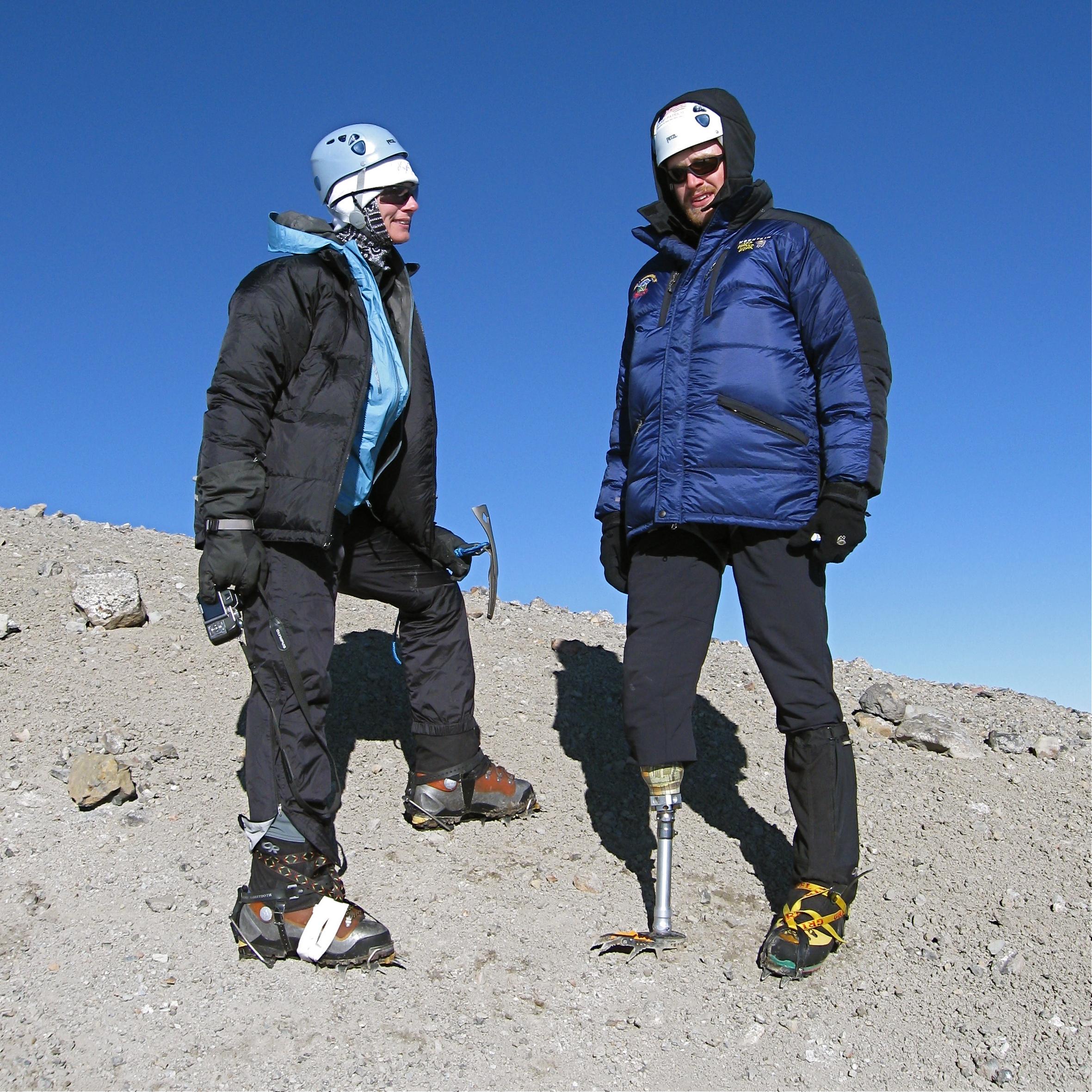 Denise with Iraq war veteran Chad Dukes. Mt.Rainier summit 2008.