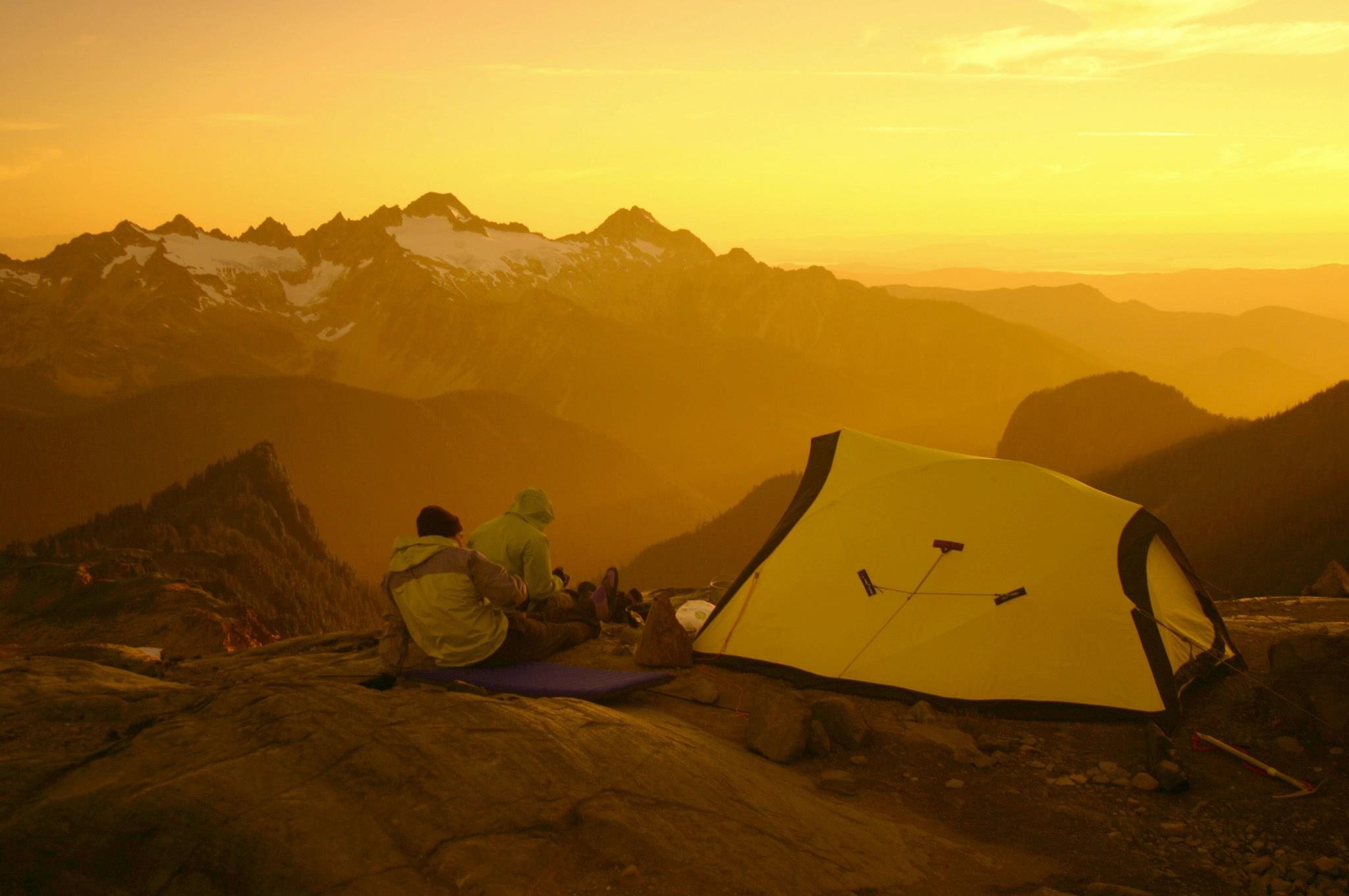 Watching the sunset from mount baker, Washington 2010