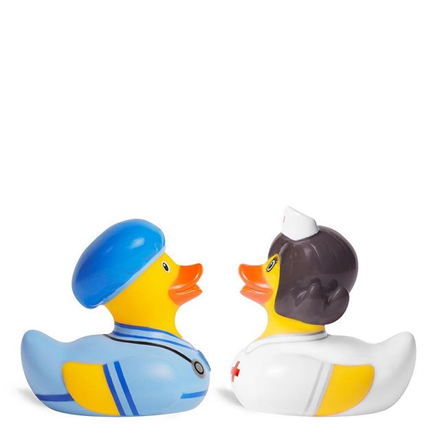 """""""We care for you"""" — Doc & Nurse Ducks The doctor and nurse are in the house! 😏🏥😍 . . . . . #bud #docandnurse #duck #doctordoctor #nurse #inthehouse #ducklife #stethoscope"""