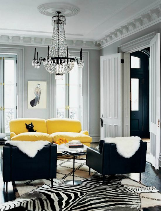 Jenna Lyons yellow sofa. Bam, it's all the color you need