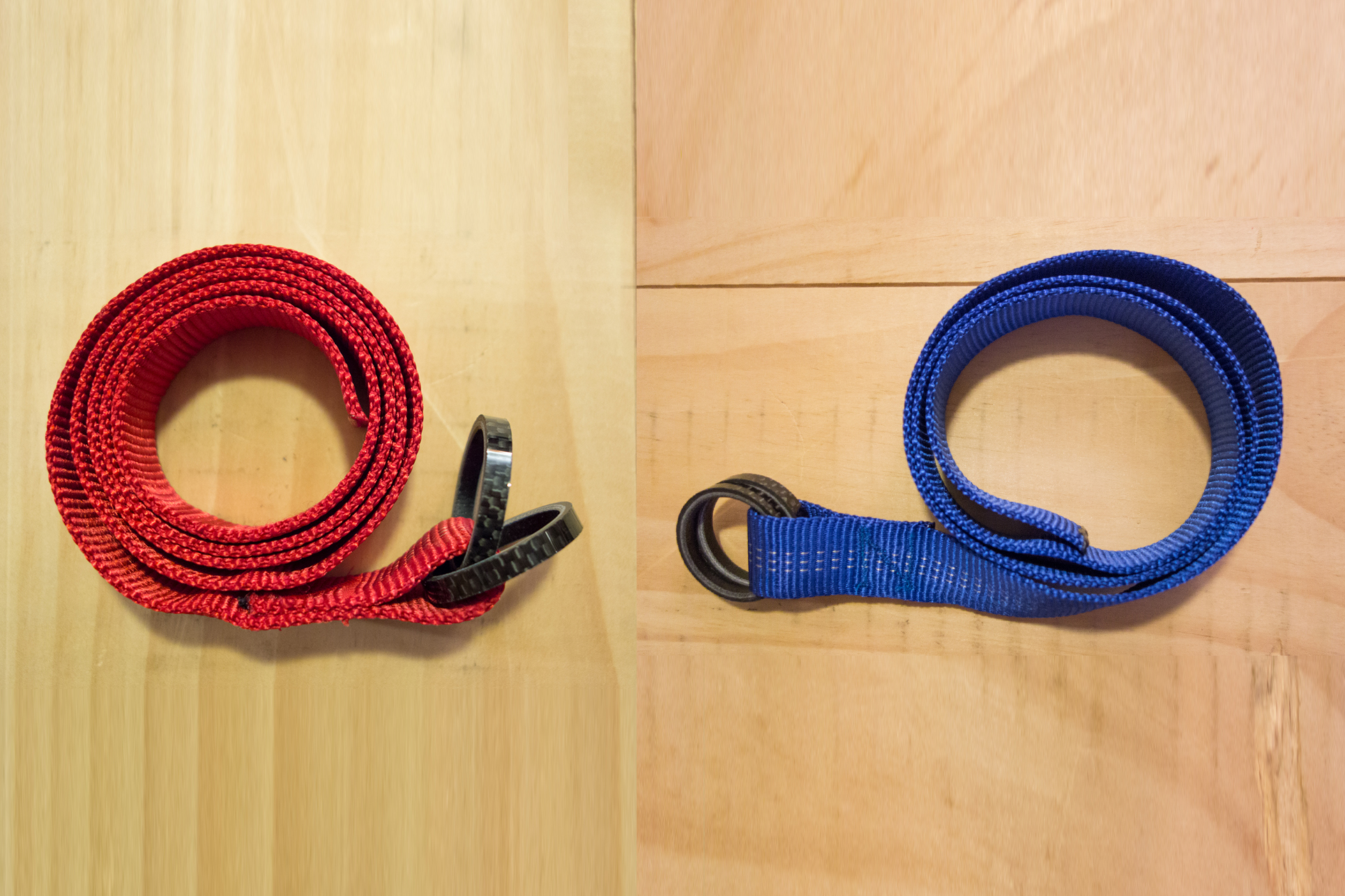 Carbon bike headset spacer belt in blue and red