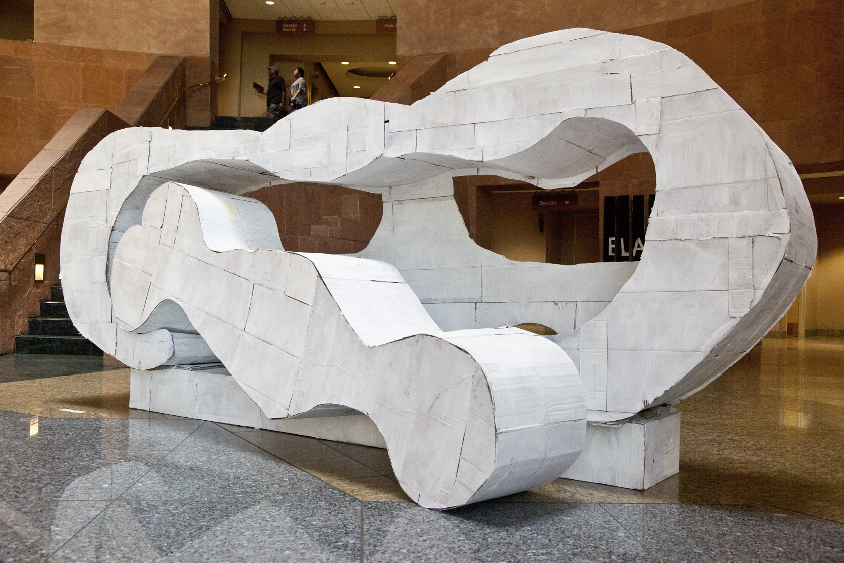 Reclining Connected Forms . 2011. Cardboard, glue and paint. 6'x12'x5'