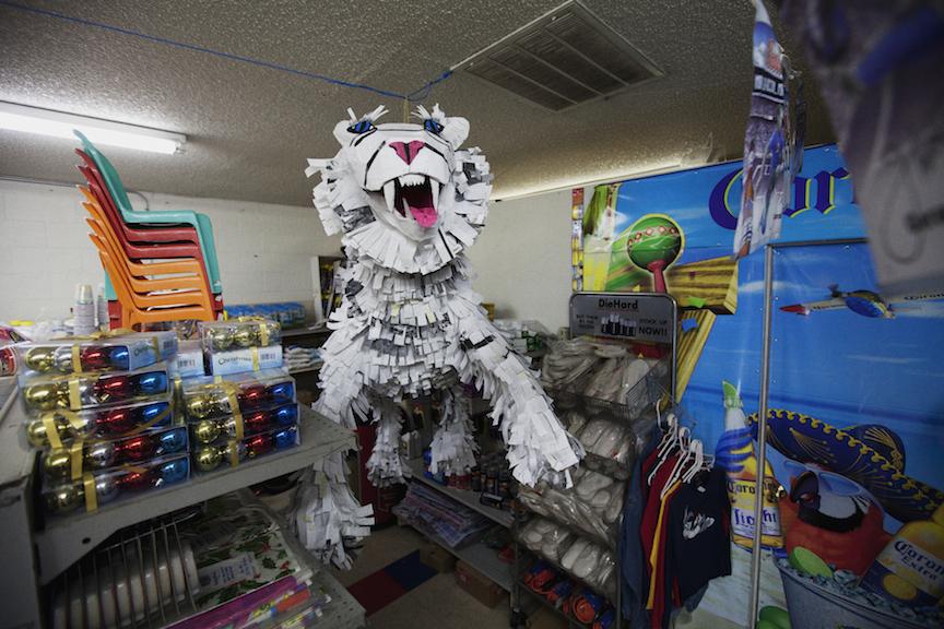 Shannon Eakins  & Justin Favela   Paper Tiger. 2012. Cardboard, paper, staples, aluminum foil & glue.