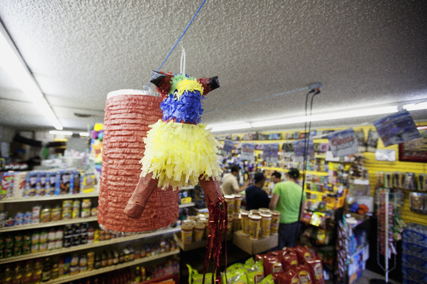 Untitled  (Bull & Chick Piñata I). 2012. Found objects, glue & paper.