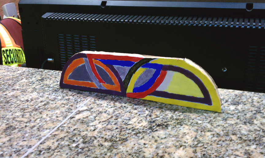 """This is not """"Damascus Gate Variation I"""". 2011. Carboard, paint, and glue. 3''x8''x.5''"""